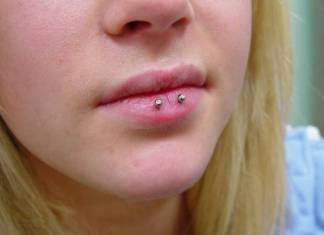 Horizontal Lip Piercing