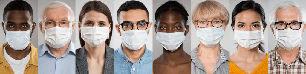 Diverse group of people wearing masks