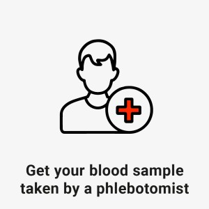 get your blood sample taken by a phlebotomist