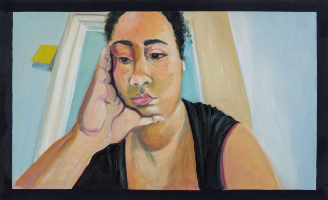 A painting of a woman looking down