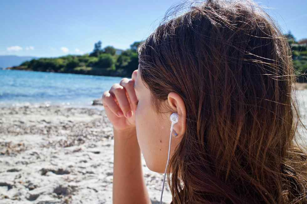 Meditating- listening to music by the sea