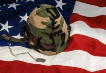 Flag with Army helmet and dogtags
