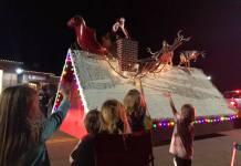 Santa atop a float