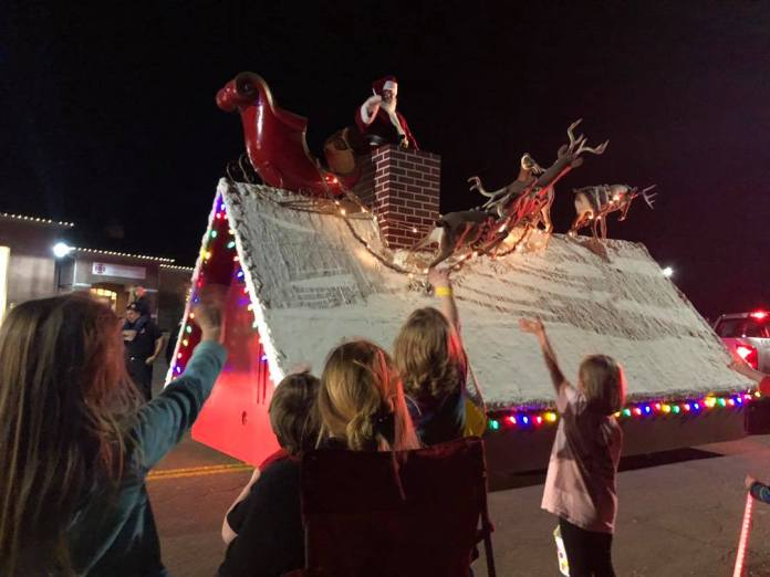 Santa atop a float