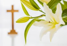 cross and lillies