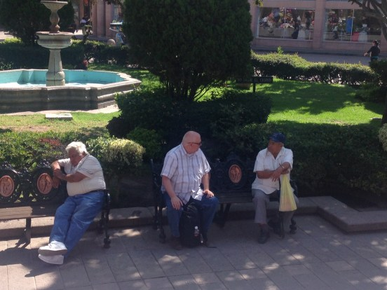 sharing Christ in one of the downtown plazas