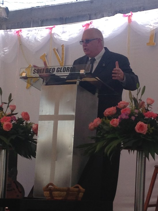 preaching an anniversary service at a mission church in our city