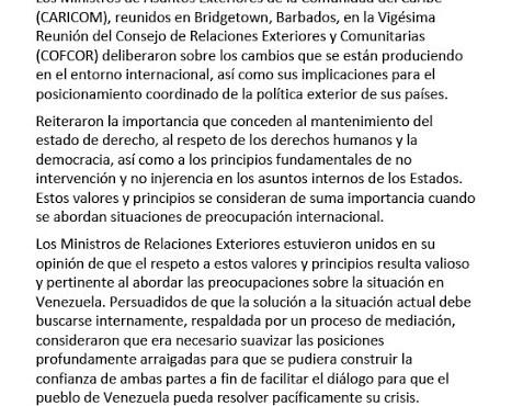 Una versión de la Crisis de Venezuela y un Comunicado de Cancilleres de CARICOM – Por Mirna Yonis