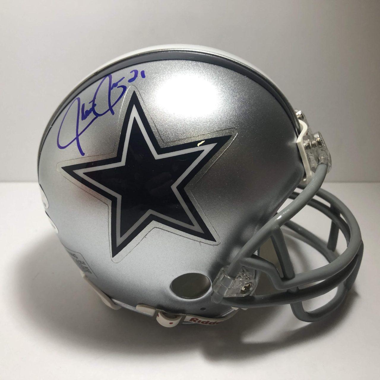 cowboys football helmet chair walmart sleeper julius jones 21 signed dallas mini