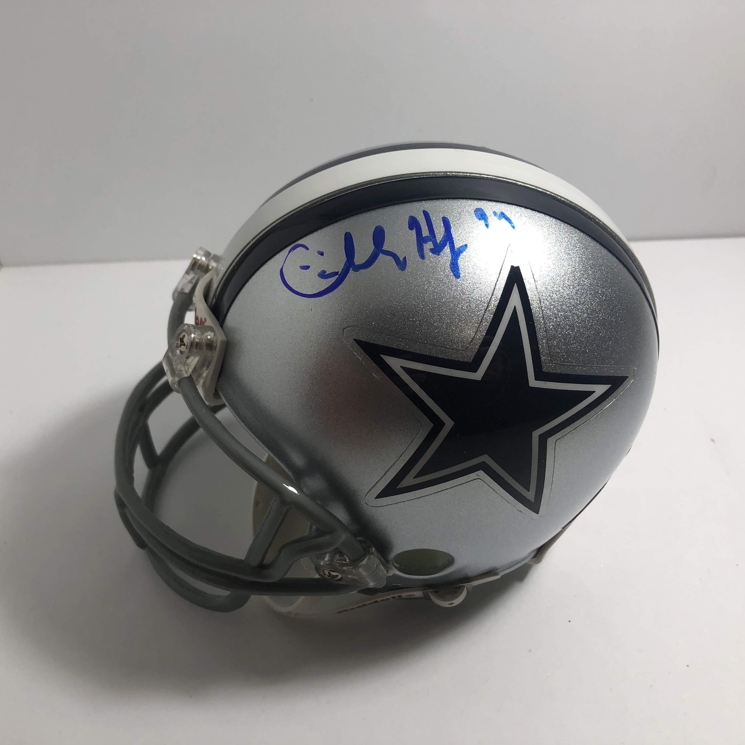 cowboys football helmet chair dining covers on amazon charles haley 94 signed dallas mini