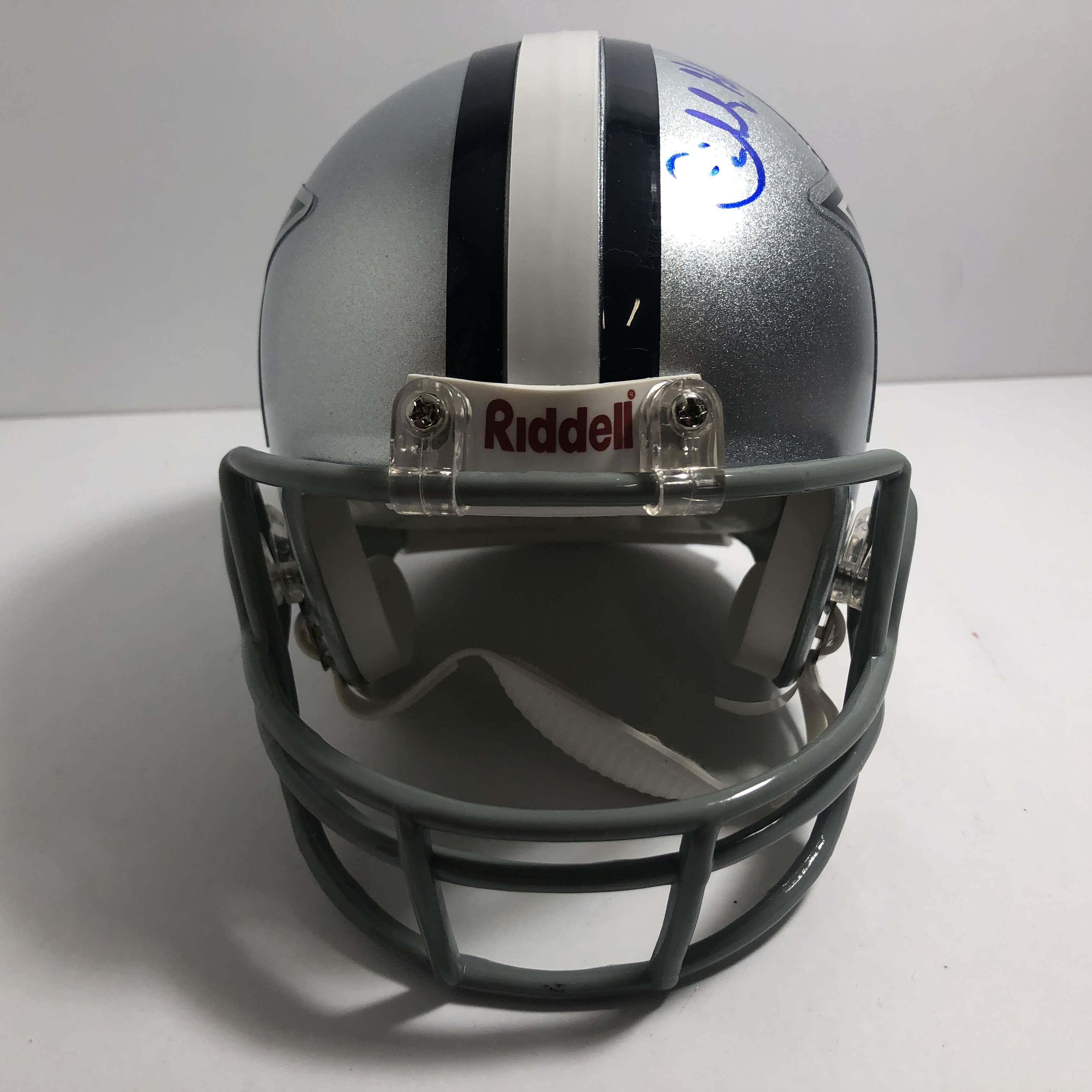 cowboys football helmet chair blue and white charles haley 94 signed dallas mini