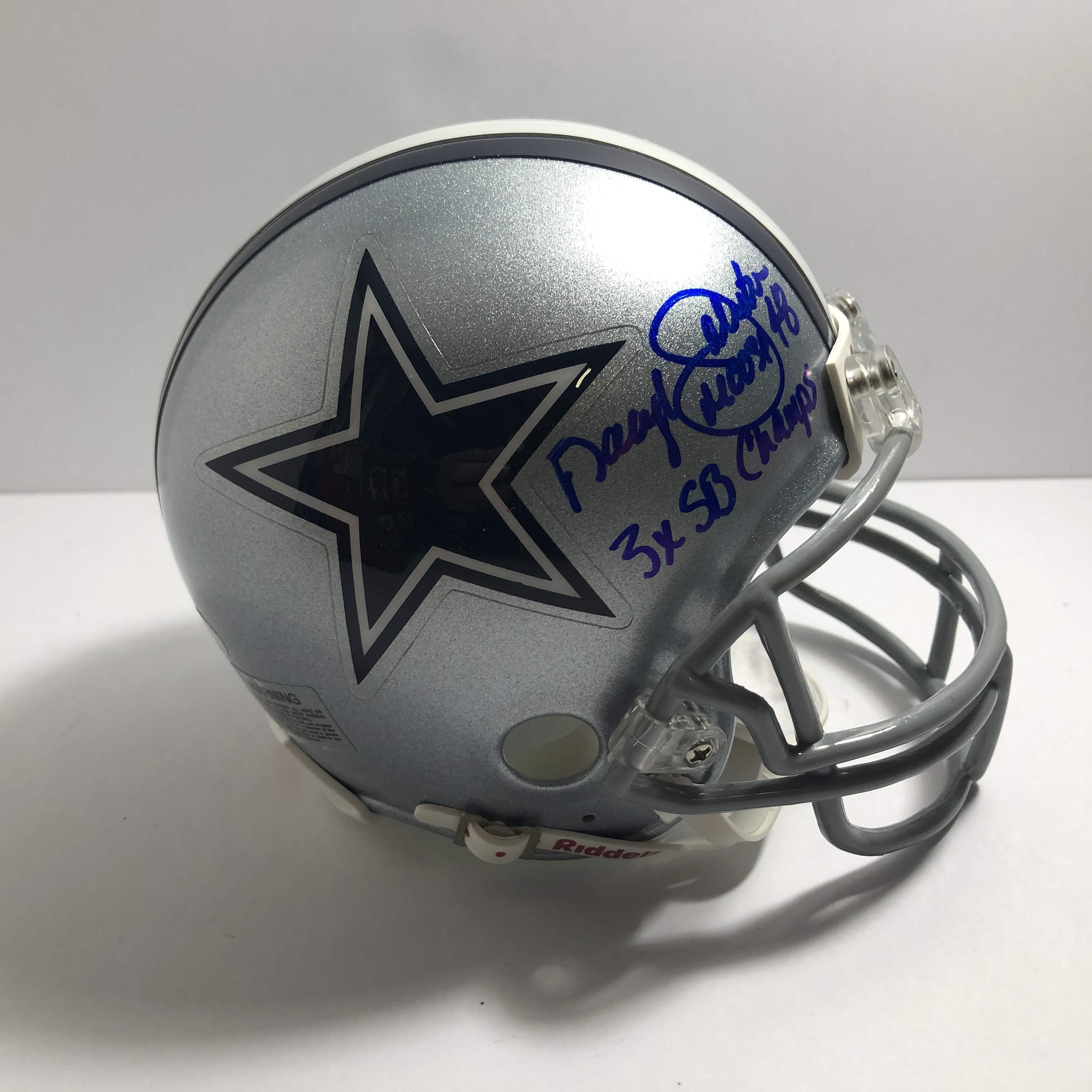 cowboys football helmet chair skirted parsons chairs dining room furniture daryl quotmoose quot johnston 48 signed and inscribed dallas