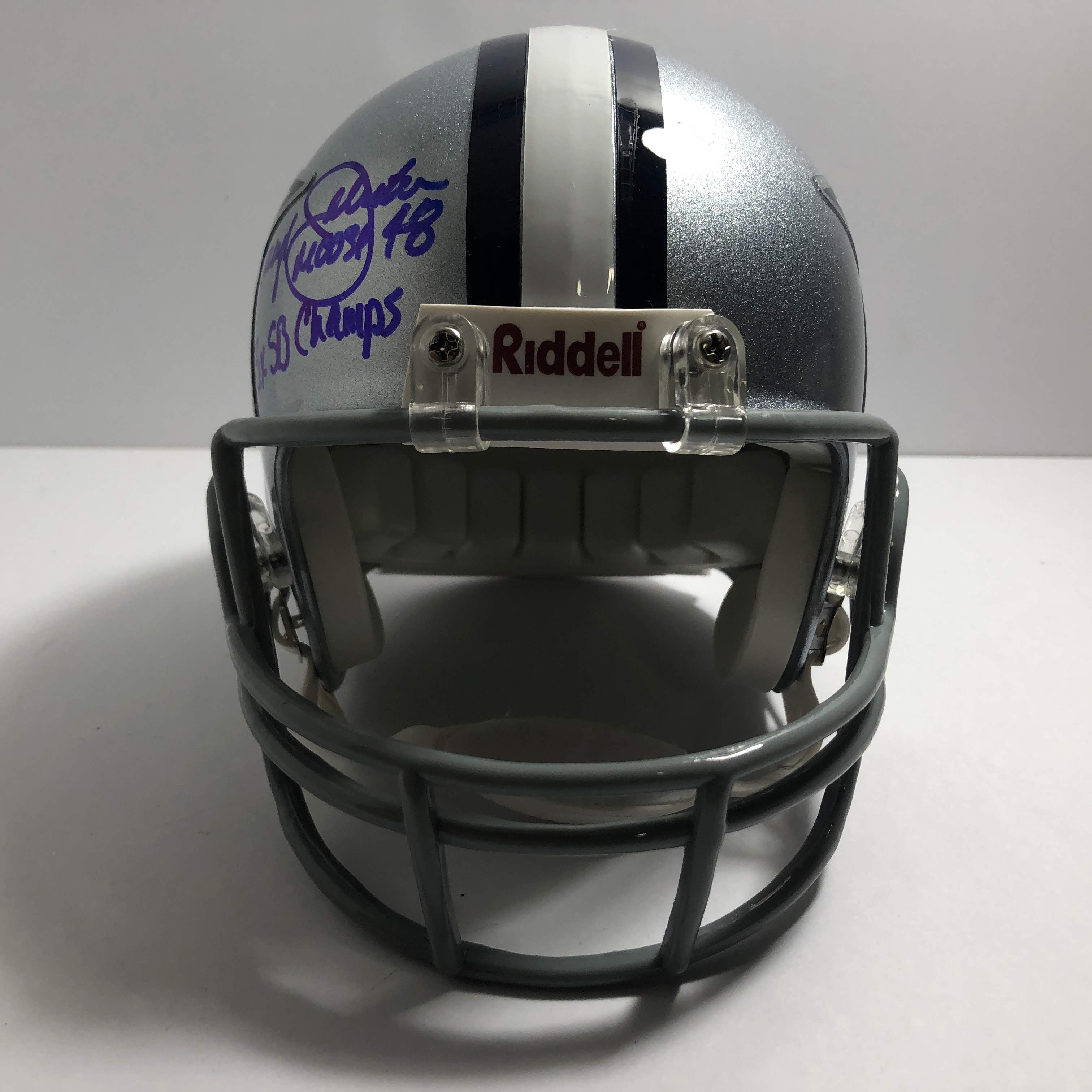 cowboys football helmet chair ostrich beach chairs review daryl quotmoose quot johnston 48 signed and inscribed dallas