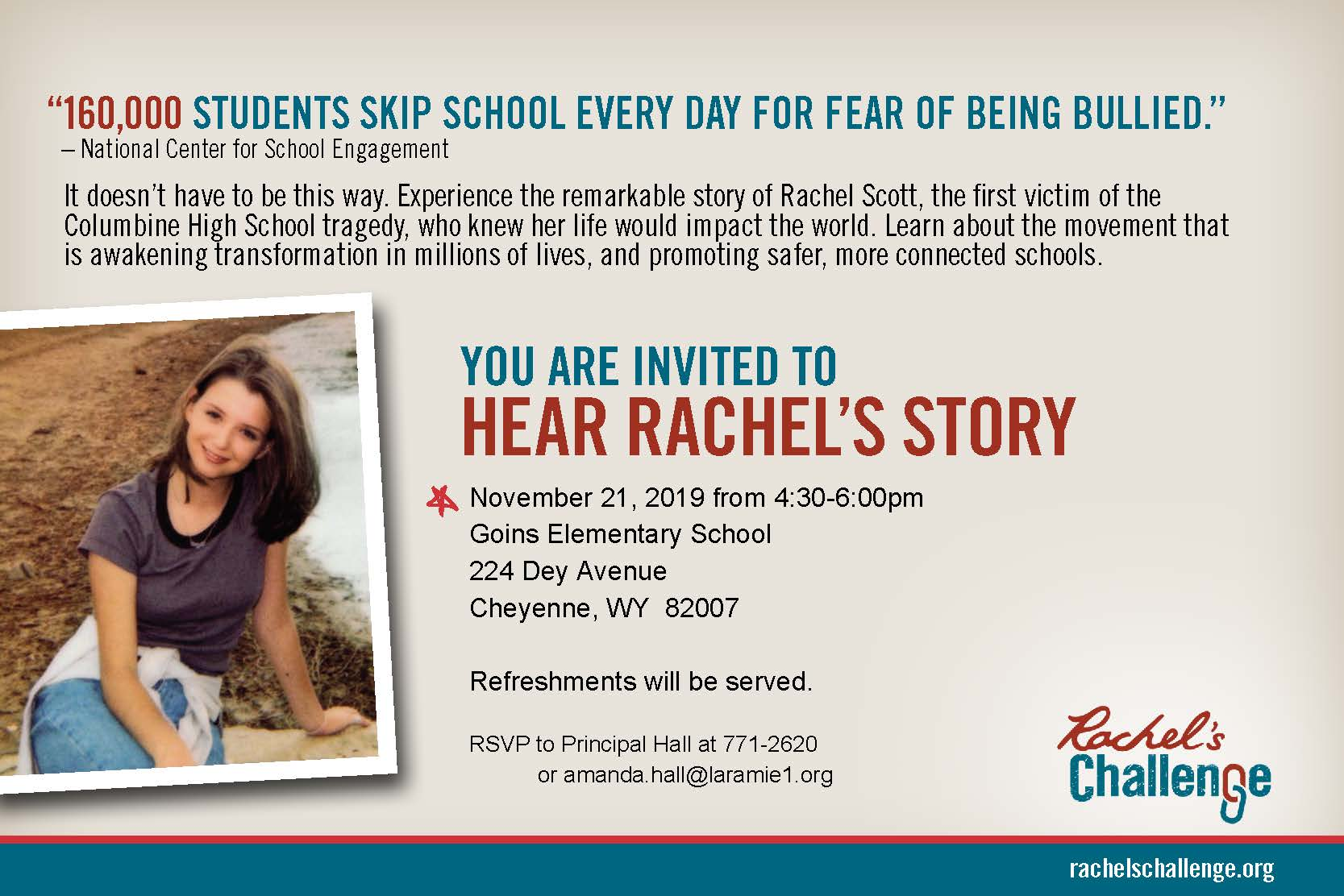 Story Of Rachel S Challenge To Be Told At Cheyenne