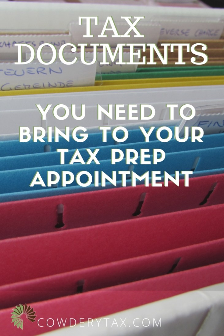 Tax Documents You Need to Bring to Your Tax Prep Appointment | CowderyTax.com #taxes