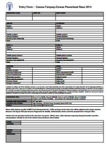2014 Entry Form