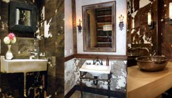 Cowhide bathroom walls