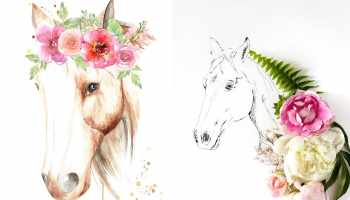 horse and flower art