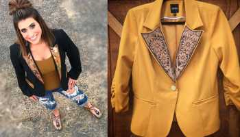 tooled blazer long x trading co tooled leather tooling fitted blazer suit jacket cowgirl magazine
