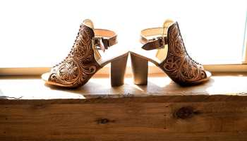Jason Becker custom leather bride bridal shoes tooled leather wedding weddings wedding shoes cowgirl magazine