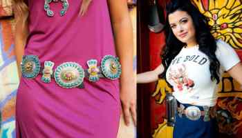 Barbosa belt Barbosa belts cowgirl magazine frosted cowgirls turquoise silver yellow concho belt