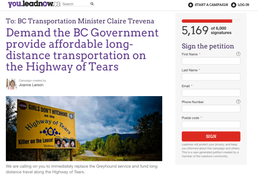 Demand the BC Government provide affordable long-distance transportation on the Highway of Tears