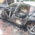 BMW spłonęło na Kurdwanowie(zdjęcia)