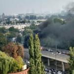 Samochód spłonął na estakadzie