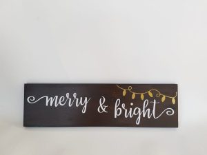 coxandthehen - merry and bright wood sign