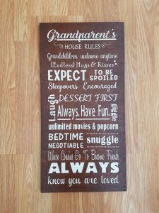 coxandthehen - grandparents house rules wood sign 2