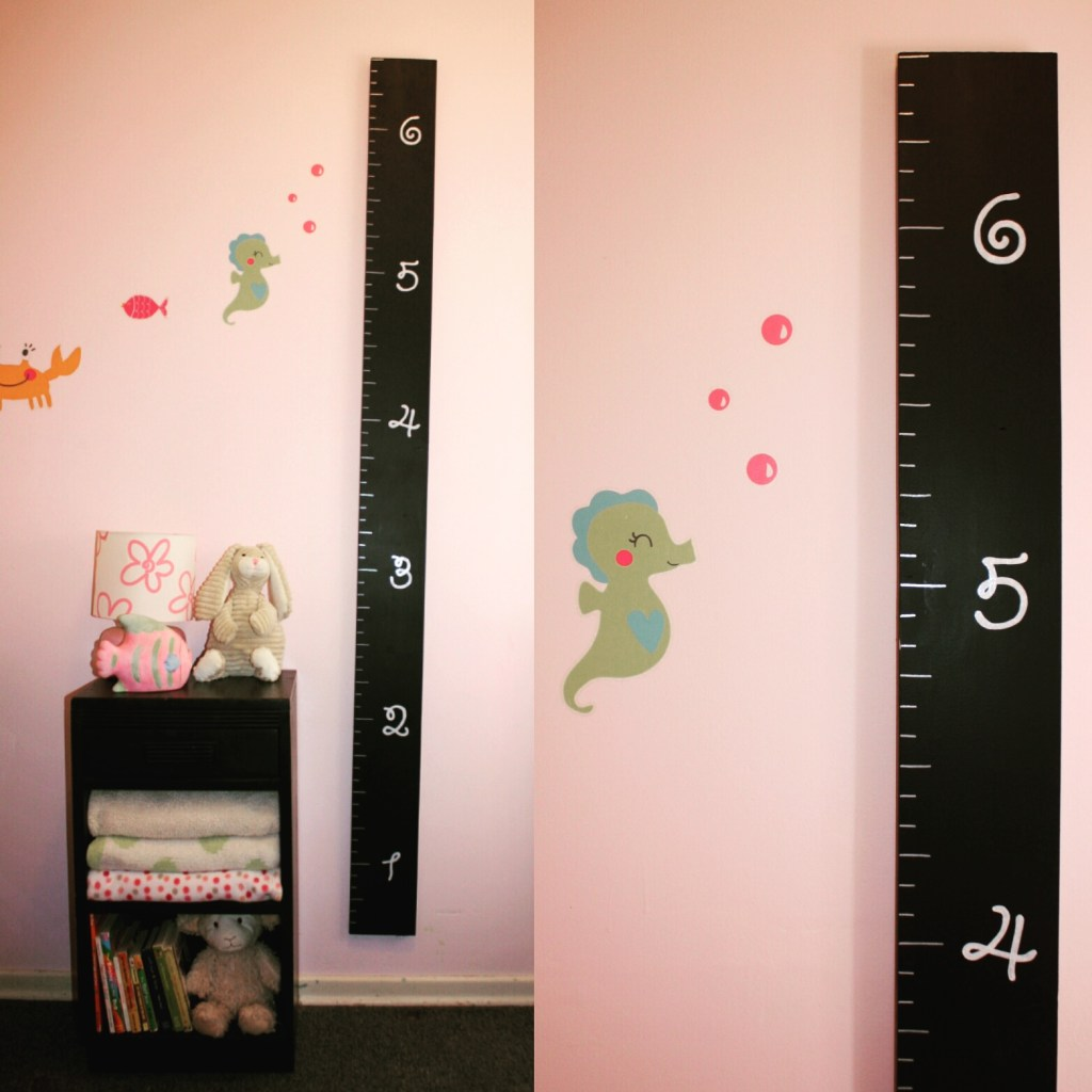 DIY Over Sized Ruler Growth Chart - Create your own over sized ruler growth chart! Tutorial and Free growth chart stencil SVG.