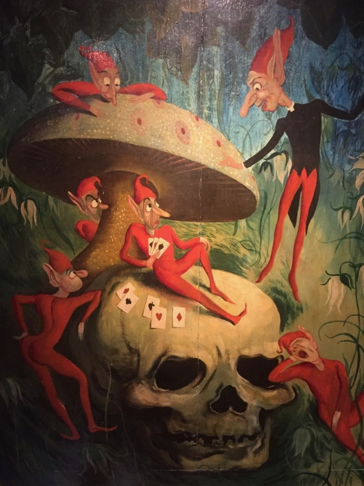 painting of dream and nightmares of skull and pixies witchcraft cornwall sleep paralysis