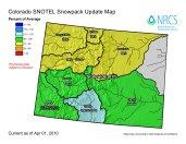 Colorado snowpack basin-filled map April 1, 2010 via the NRCS.