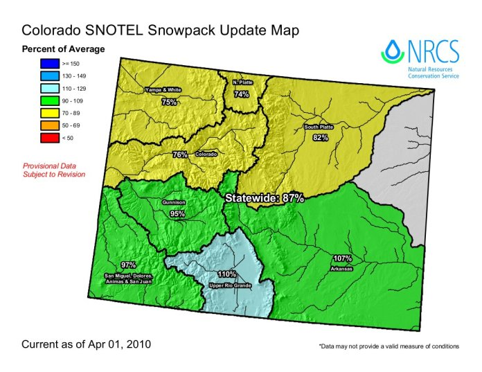 Colorado snowpack basin-filled map April 1, 2010 via the NRCS.