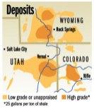 Oil shale deposits Colorado, Wyoming and Utah
