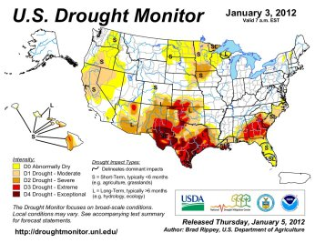 US Drought Monitor January 3, 2012.