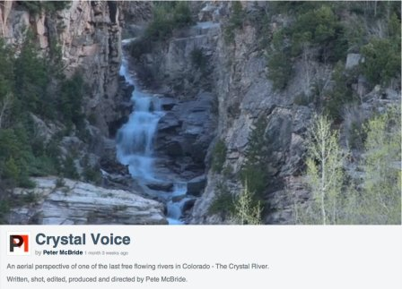 Screen shot from Peter McBride's video arguing that the Crystal River should be left as is