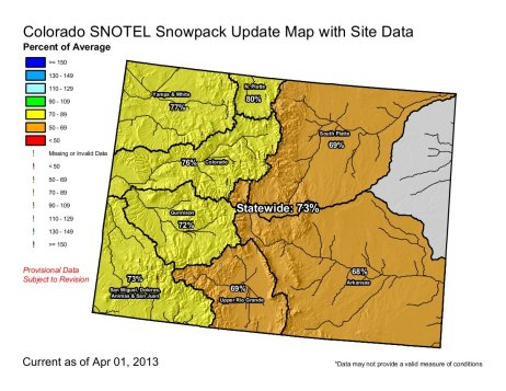 Statewide snowpack April 1, 2013 via the NRCS