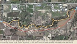 New Saint Vrain River channel after the September 2013 floods -- photo via the Longmont Times-Call