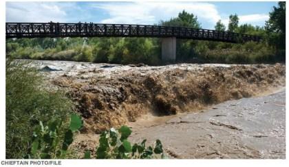 Fountain Creek swollen by stormwater November 2011 via The Pueblo Chieftain