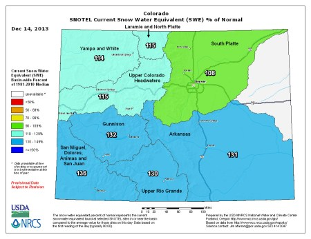 Statewide snowpack map percent of normal December 14, 2013 via the NRCS