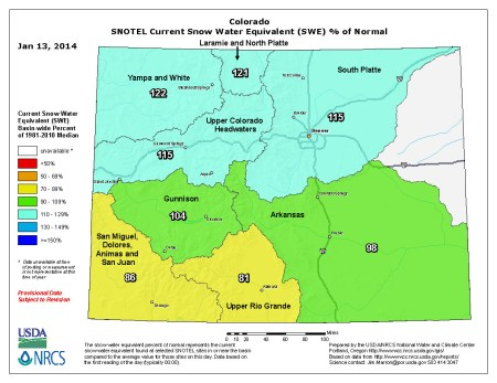 Statewide snow water equivalent January 13, 2014 via the NRCS
