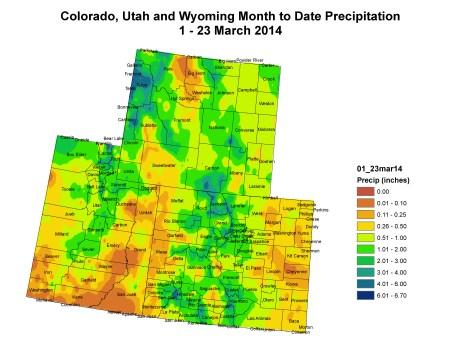Upper Colorado River Basin March 1 - 23 month to date precipitation via the Colorado Climate Center