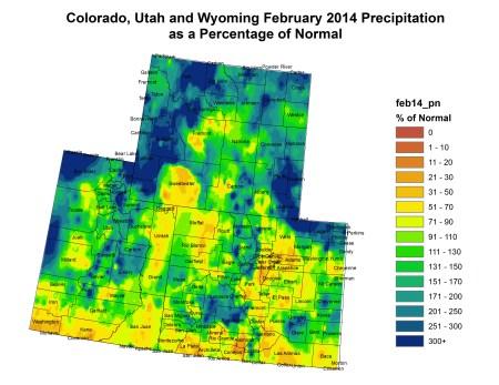 Upper Colorado River Basin February 2014 precipitation as a percent of normal