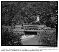 Shoshone Hydroelectric Plant back in the days before I-70 via Aspen Journalism