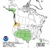 90-day precipitation outlook August 21, 2014 via the Climate Predication Center