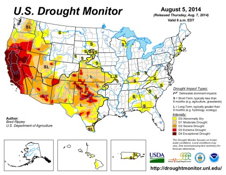 US Drought Monitor August 5, 2014