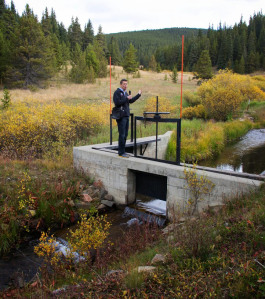 Alan Ward stands at the Ewing Ditch headgate,