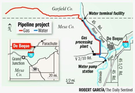 Debeque (Kobe) pipeline project map via The Grand Junction Daily Sentinel