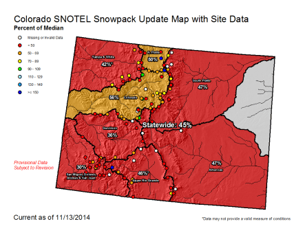 Colorado snowpack map November 13, 2014 via the NRCS